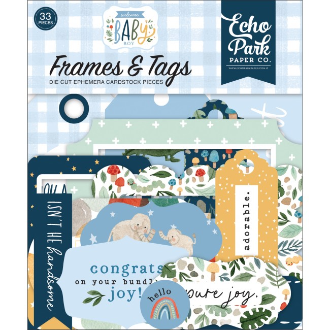 Die Cuts Welcome Baby Boy frames & tags