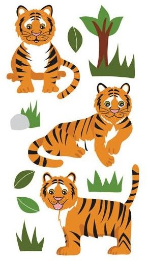 Tiger Glitter Stickers