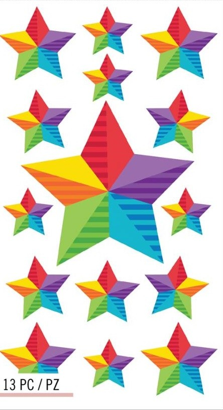 Happy Rainbow Stars Stickers