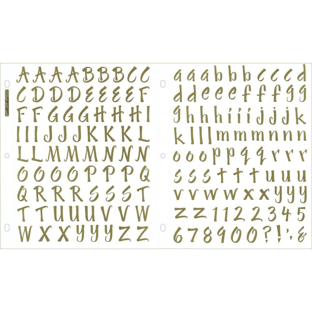 Autocollants Alphabets Brush Golden Foil Stickers