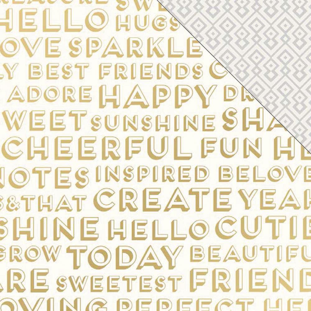 Papier Imprimé Recto-Verso 12x12 - Craft Market - Inspired With Gold