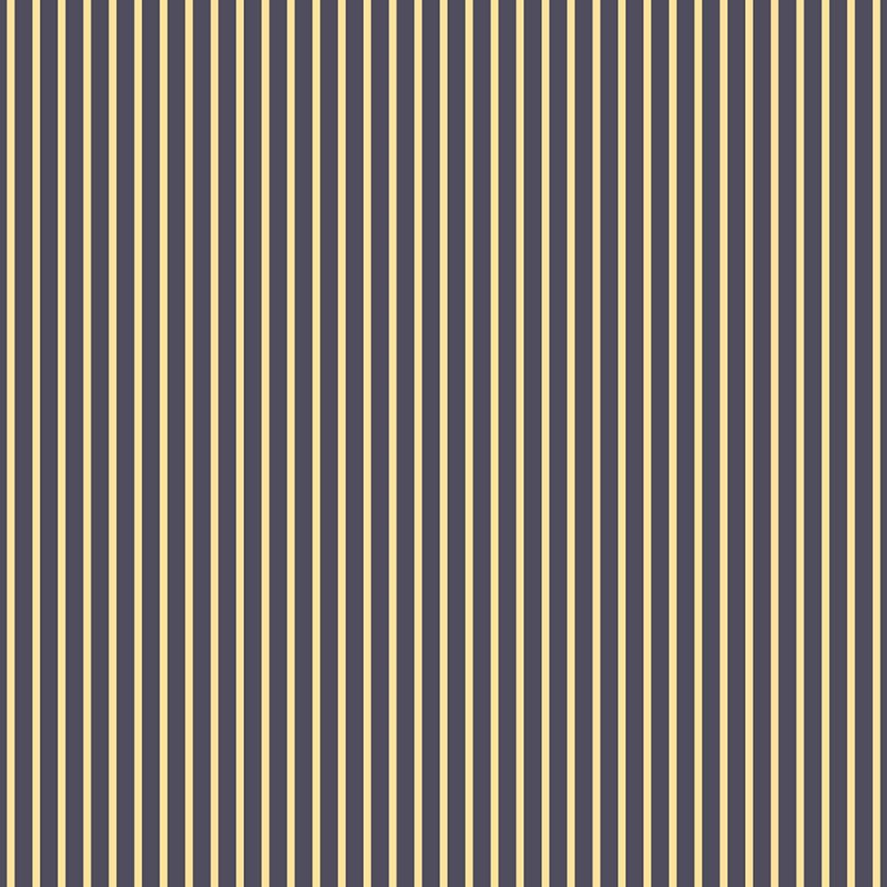 Papier Imprimé Recto 12x12 - Denim Blue - Yellow Stripe