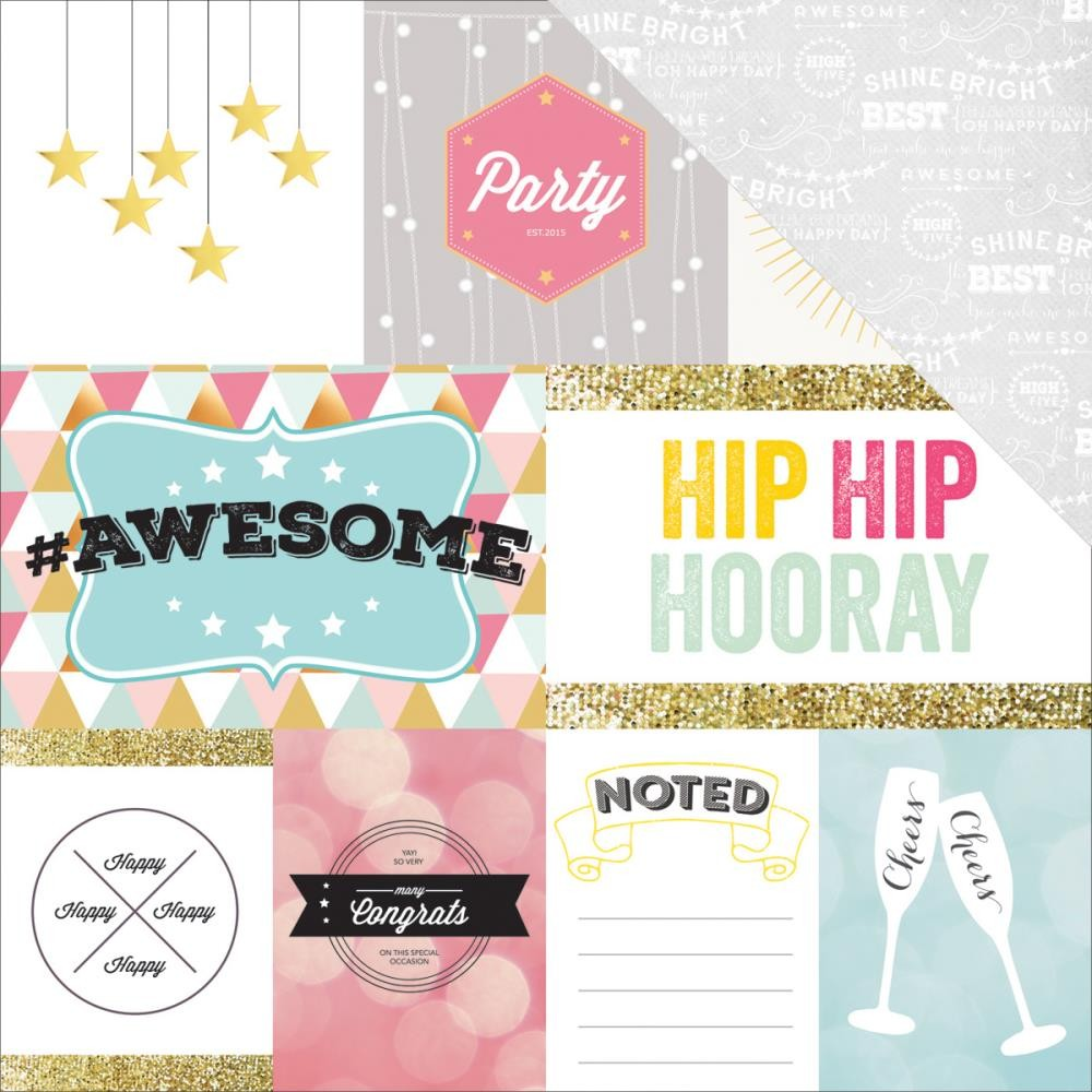 Papier Imprimé Recto-Verso 12x12 - #HAPPY - Hip, Hip, Hooray!