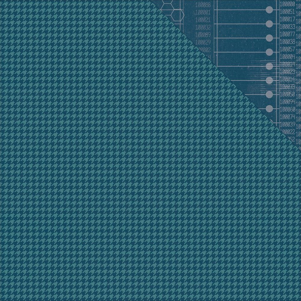 Papier Imprimé Recto-Verso 12x12 - Navy Houndstooth/Code Simple Basic
