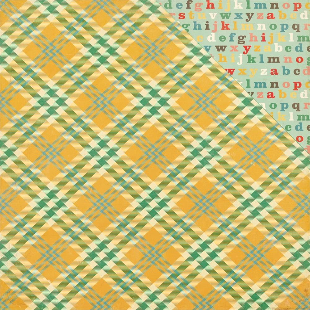Papier Imprimé Recto-Verso 12x12 - Teachers Pet - Yellow Plaid