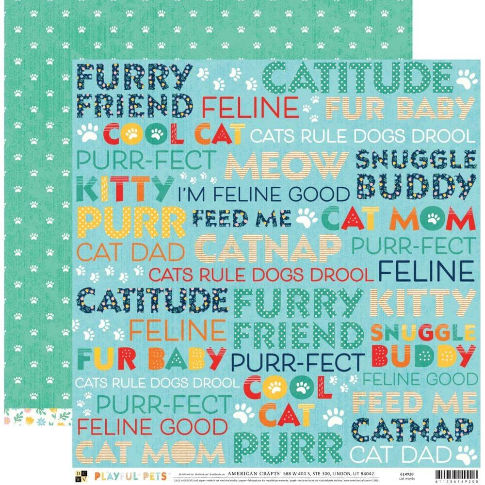 Papier Imprimé Recto-verso 12x12 Playful Pets Cat Words
