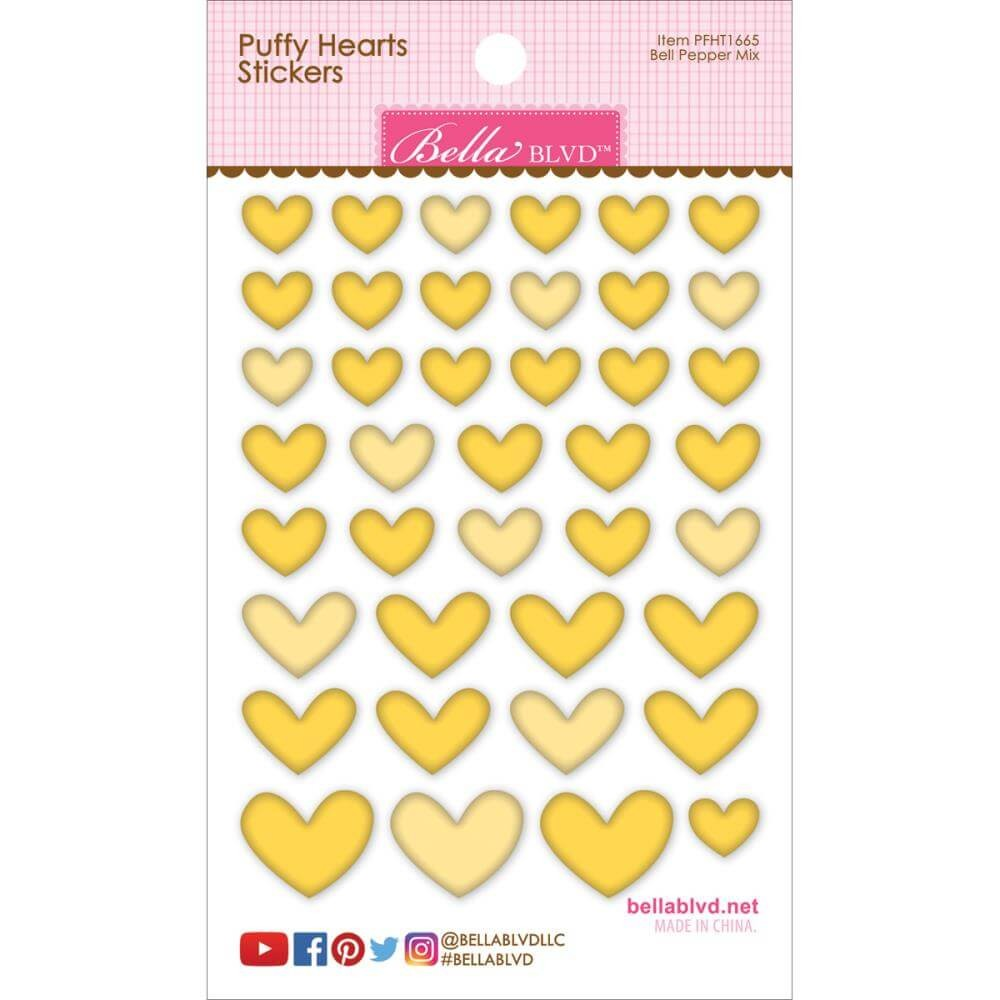 Autocollants Puffy Hearts - Bell Pepper Mix