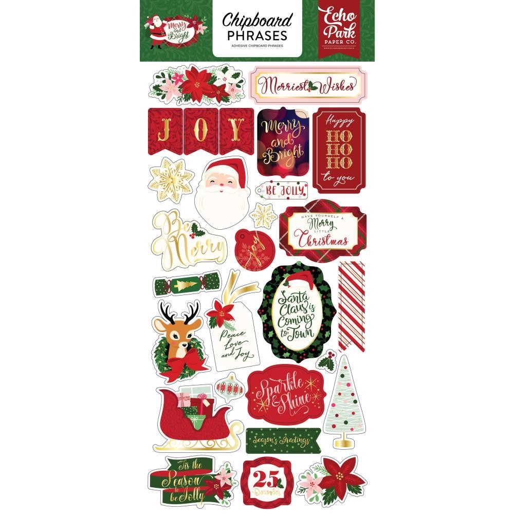 Chipboard Merry & Bright Phrases