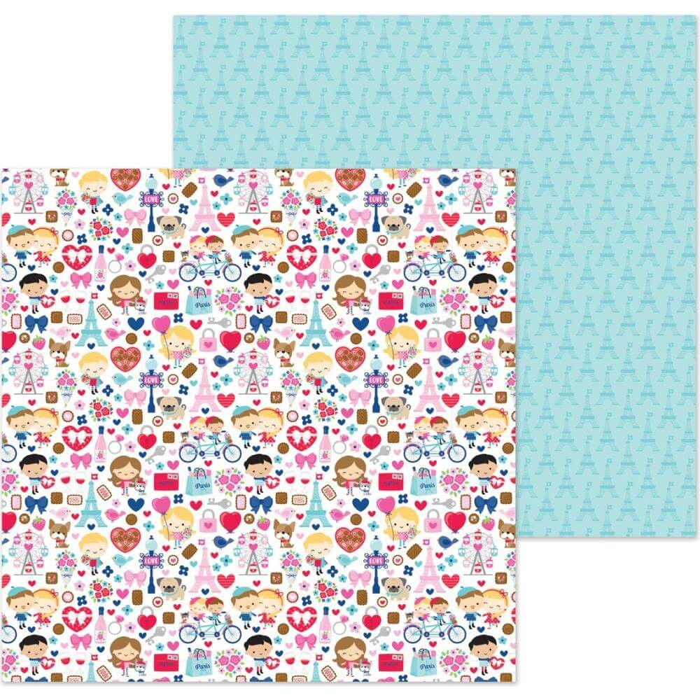 Papier Imprimé Recto-verso 12x12 French Kiss French Kiss