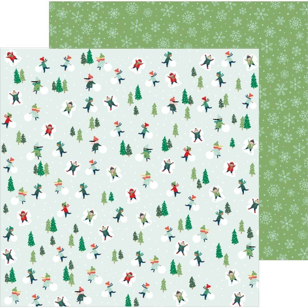 Papier Imprimé Recto-verso 12x12 Merry Little Christmas Snow Day