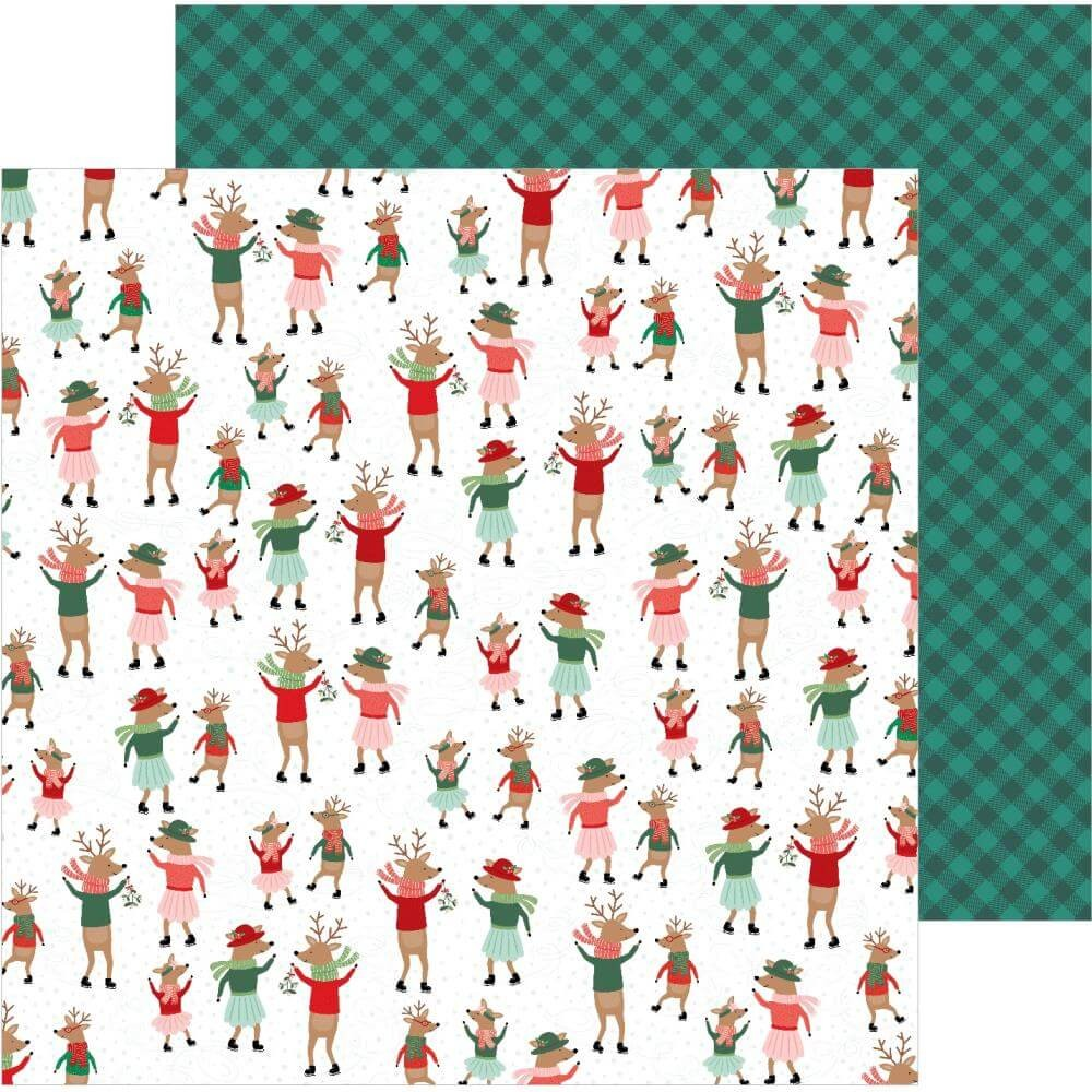 Papier Imprimé Recto-verso 12x12 Merry Little Christmas Dancing Reindeer