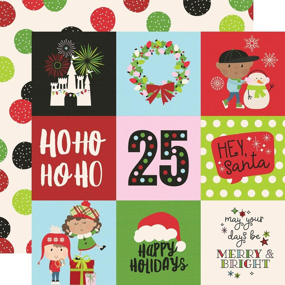 "Papier Imprimé Recto-verso 12x12 Say Cheese Christmas 4""X4"" Elements"