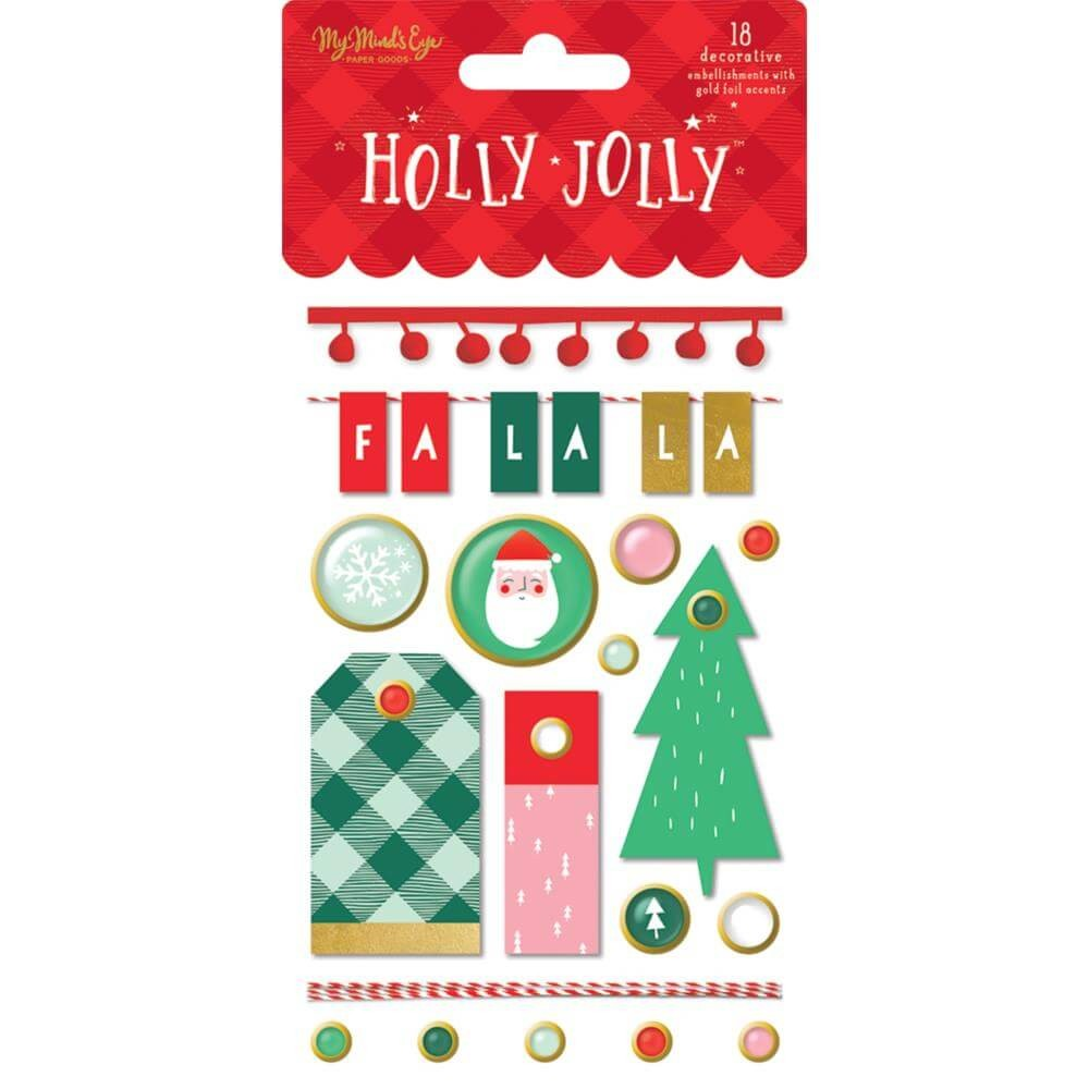 Attaches Parisiennes Holly Jolly W/Gold Foil Accents
