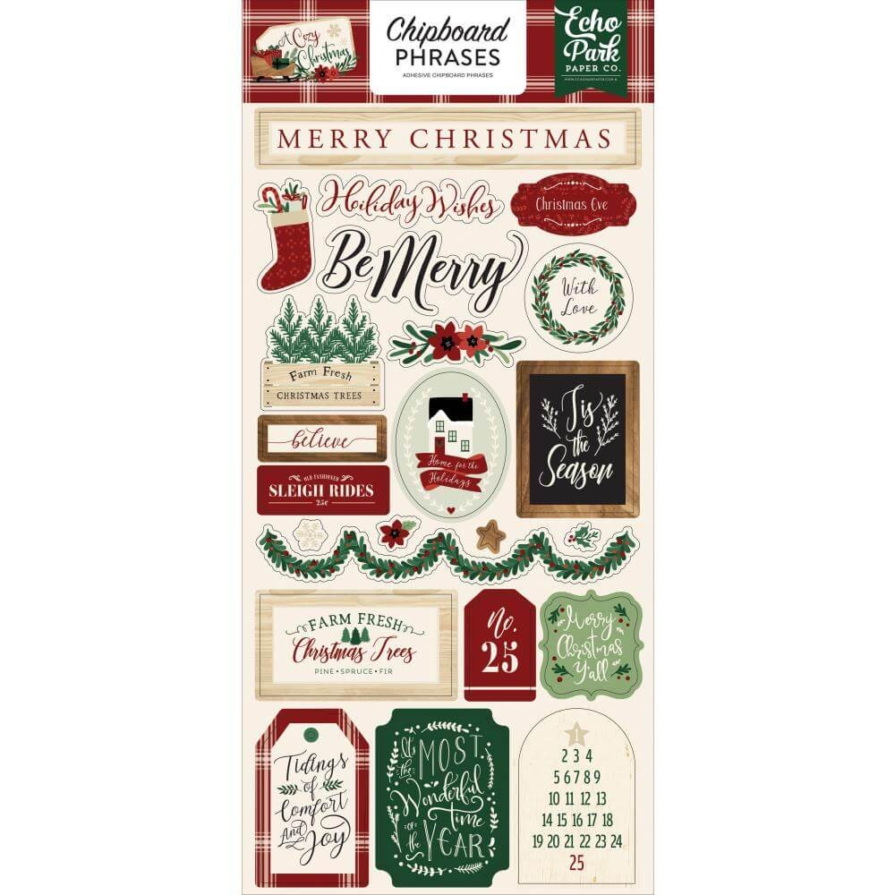 Chipboard 6x13 A Cozy Christmas Phrases
