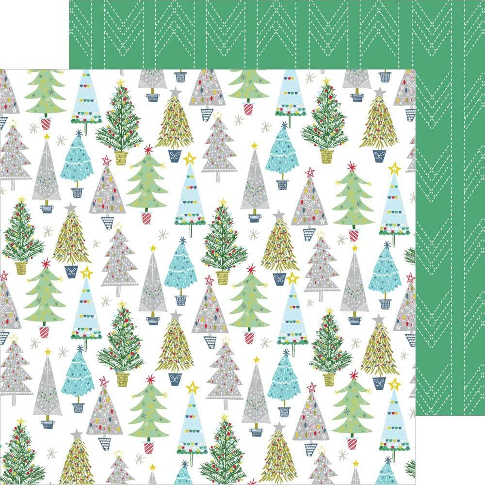 Papier Imprimé Recto-verso 12x12 Home For The Holidays Merry & Bright