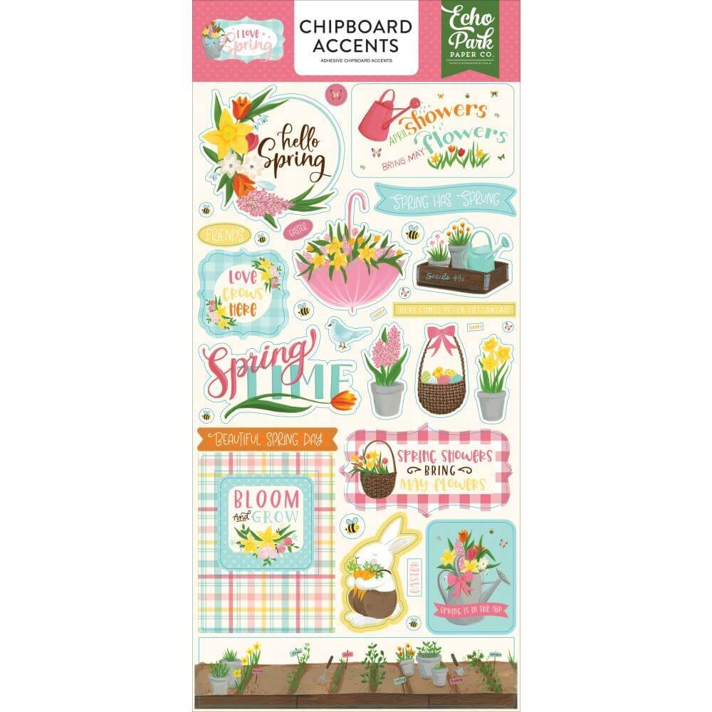 Chipboard 6x13 I love Spring Accents