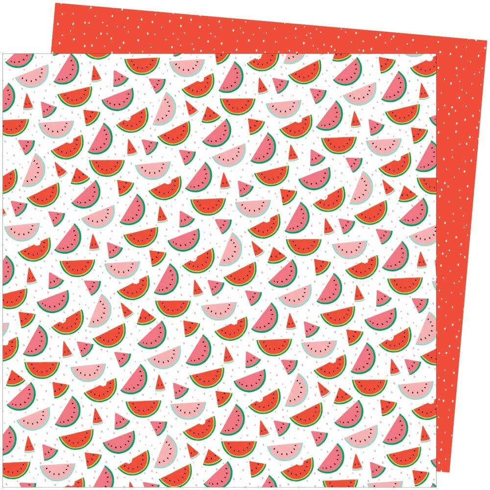 Papier Imprimé Recto-verso 12x12 Picnic In The Park Amy Tangerine One In A Melon