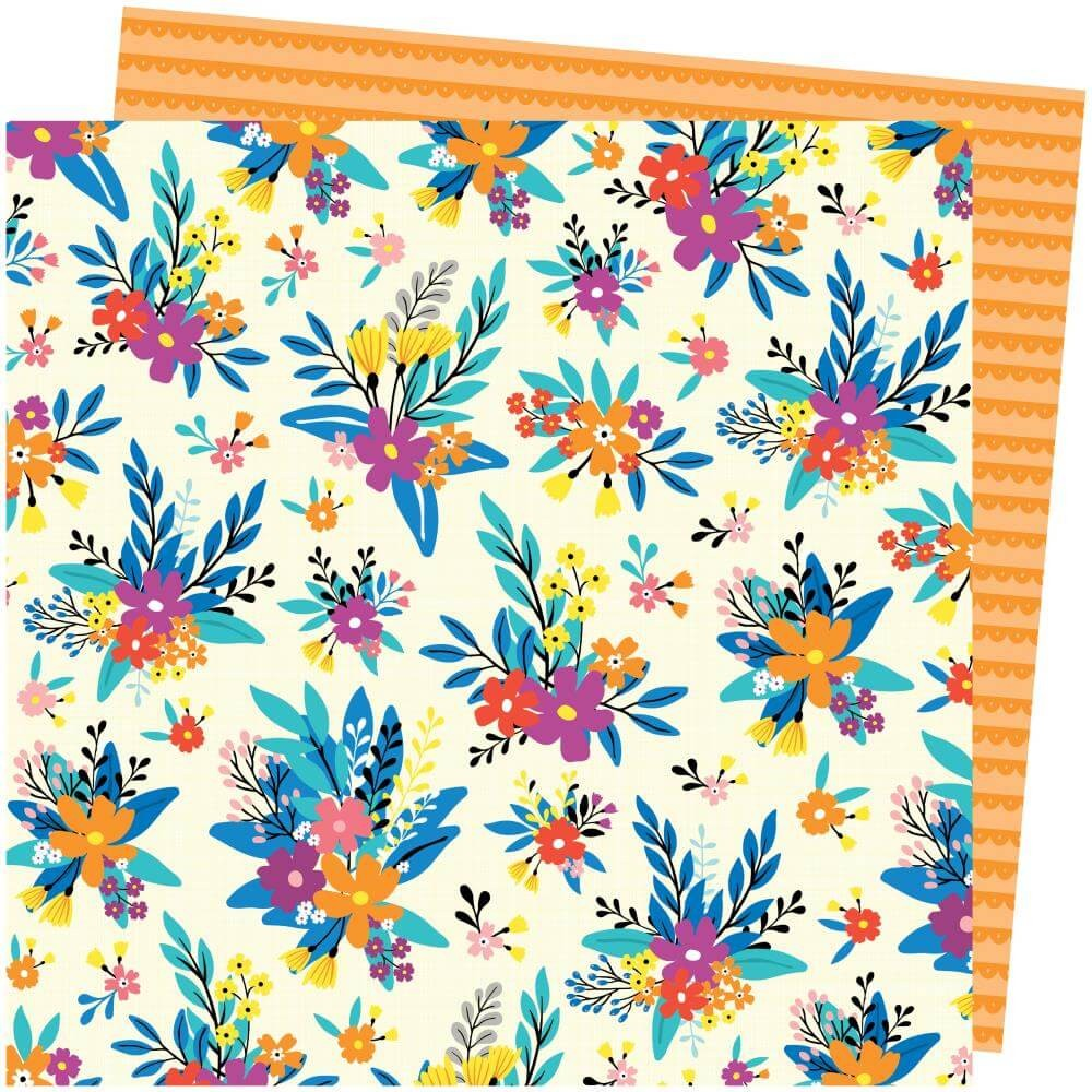 Papier Imprimé Recto-verso 12x12 Picnic In The Park Amy Tangerine Blossom Bouquet