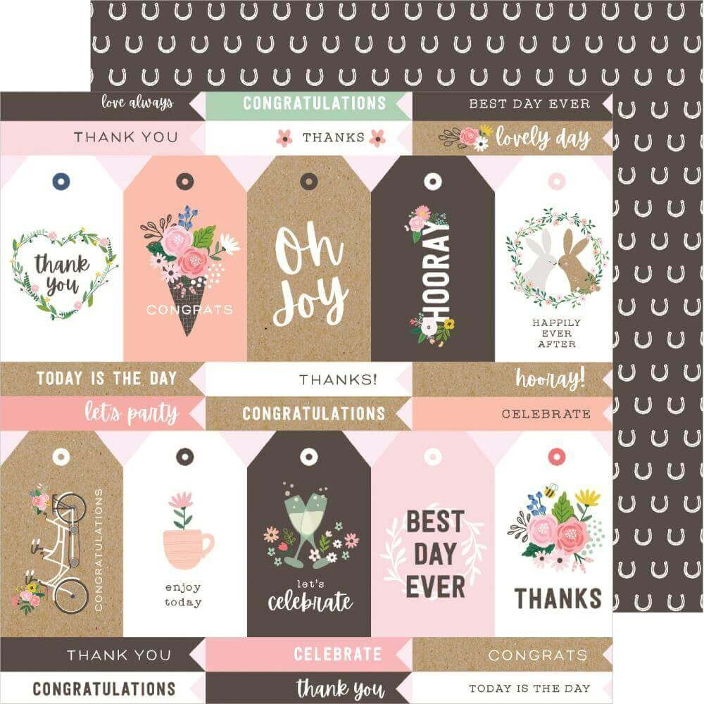 Papier Imprimé Recto-verso 12x12 Lovely Moments Lovely Tags