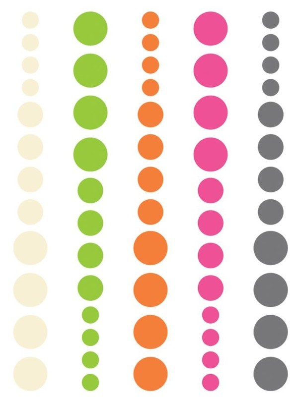 DIY Enamel Dots Pink Green Orange