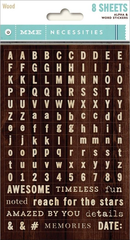 Autocollants Alphabets Necessities Tiny Alphas Wood -20% PROMO