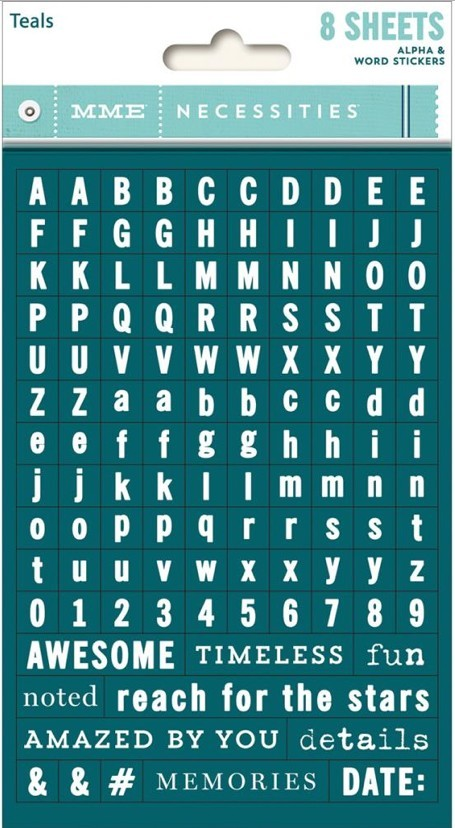 Autocollants Alphabets Necessities Tiny Alphas Teals -20% PROMO