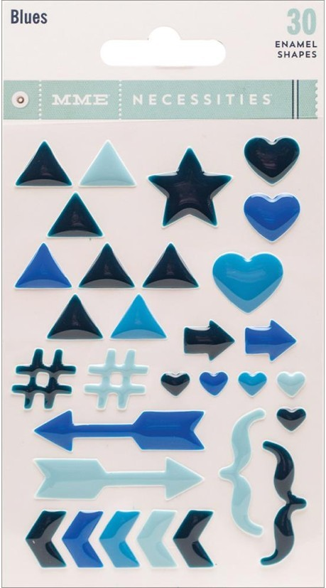 Necessities Blues Enamel Shapes