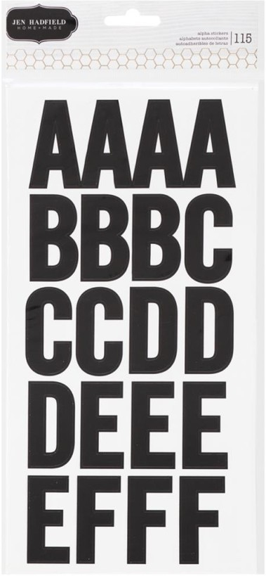 Thickers alphabets Homemade Large Alpha Stickers Black