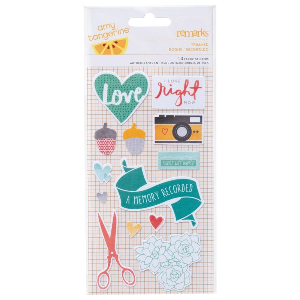 Amy Tan Stitched Fabric Stickers