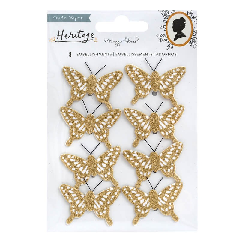 Autocollants Maggie Holmes Heritage Butterflies Gold Glitter