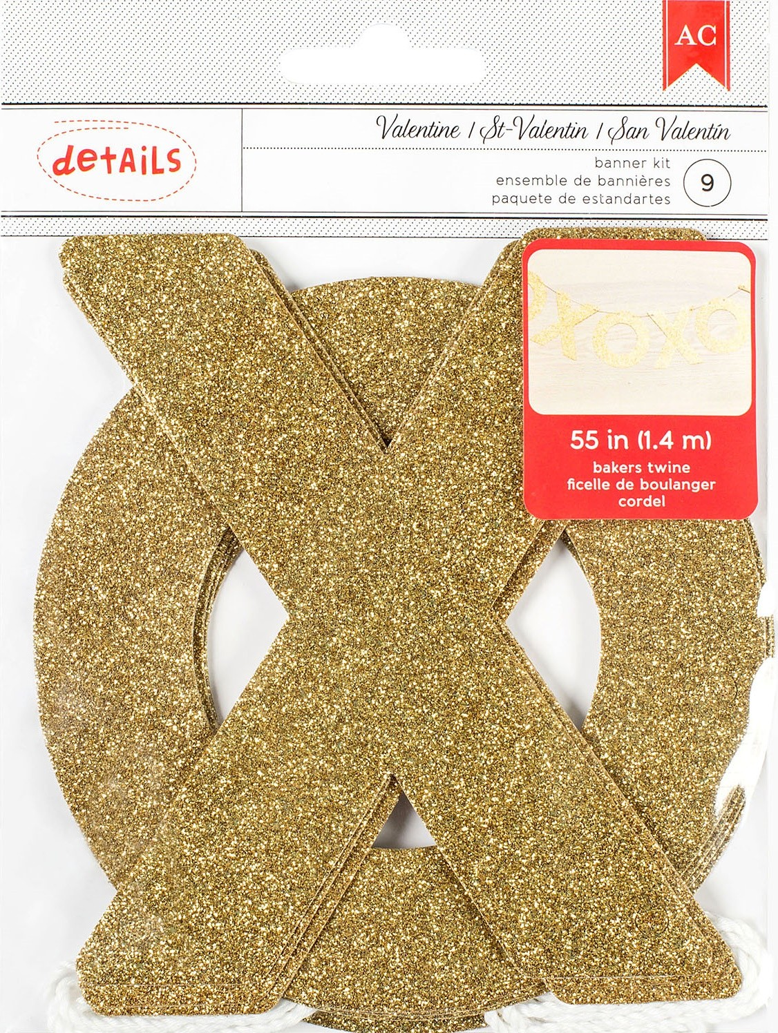 Gold Glittered XOXO Banner Kit Valentine