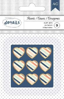 Stripe Hearts Push Pins