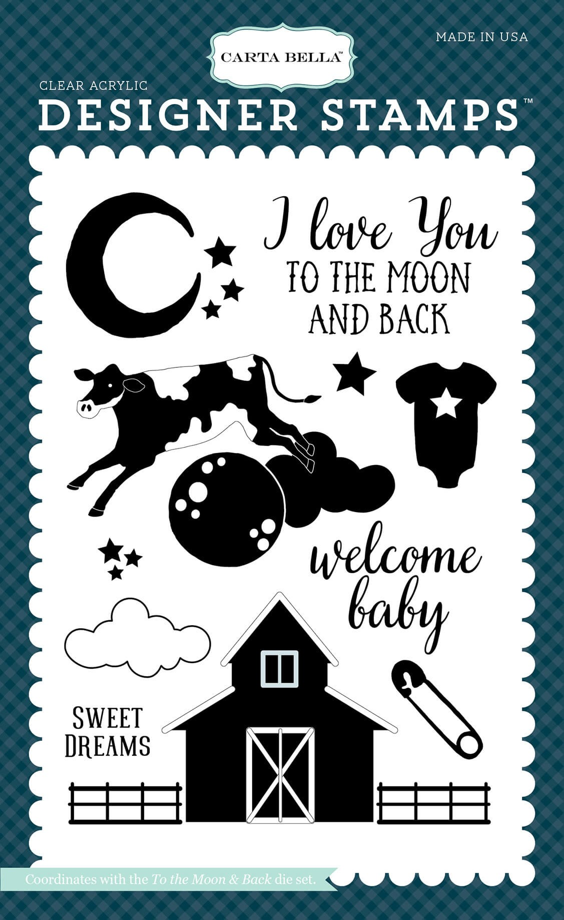 Tampon Acrylique Rock A Bye Baby Boy - To The Moon & Back