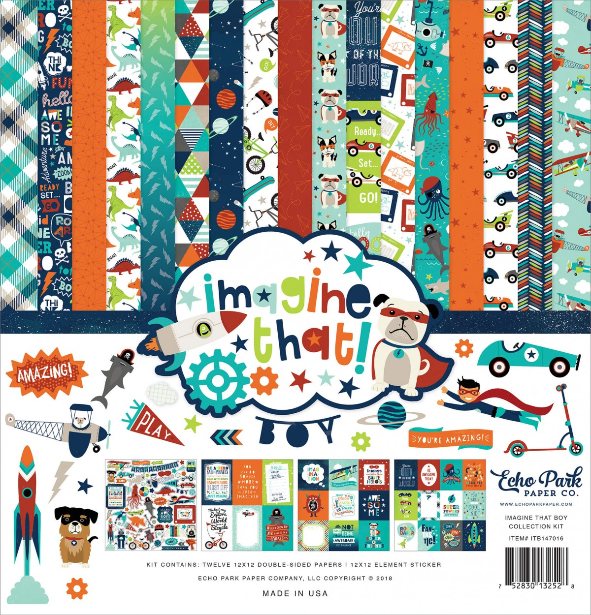Kit Papiers Imprimés 12x12 Imagine That Boy