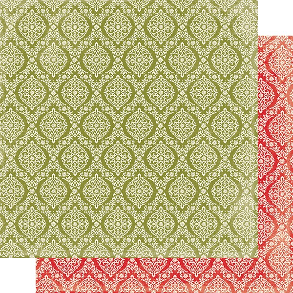 Papier Imprimé Recto-verso 12x12 Rejoice #10 Green & Cream Damask