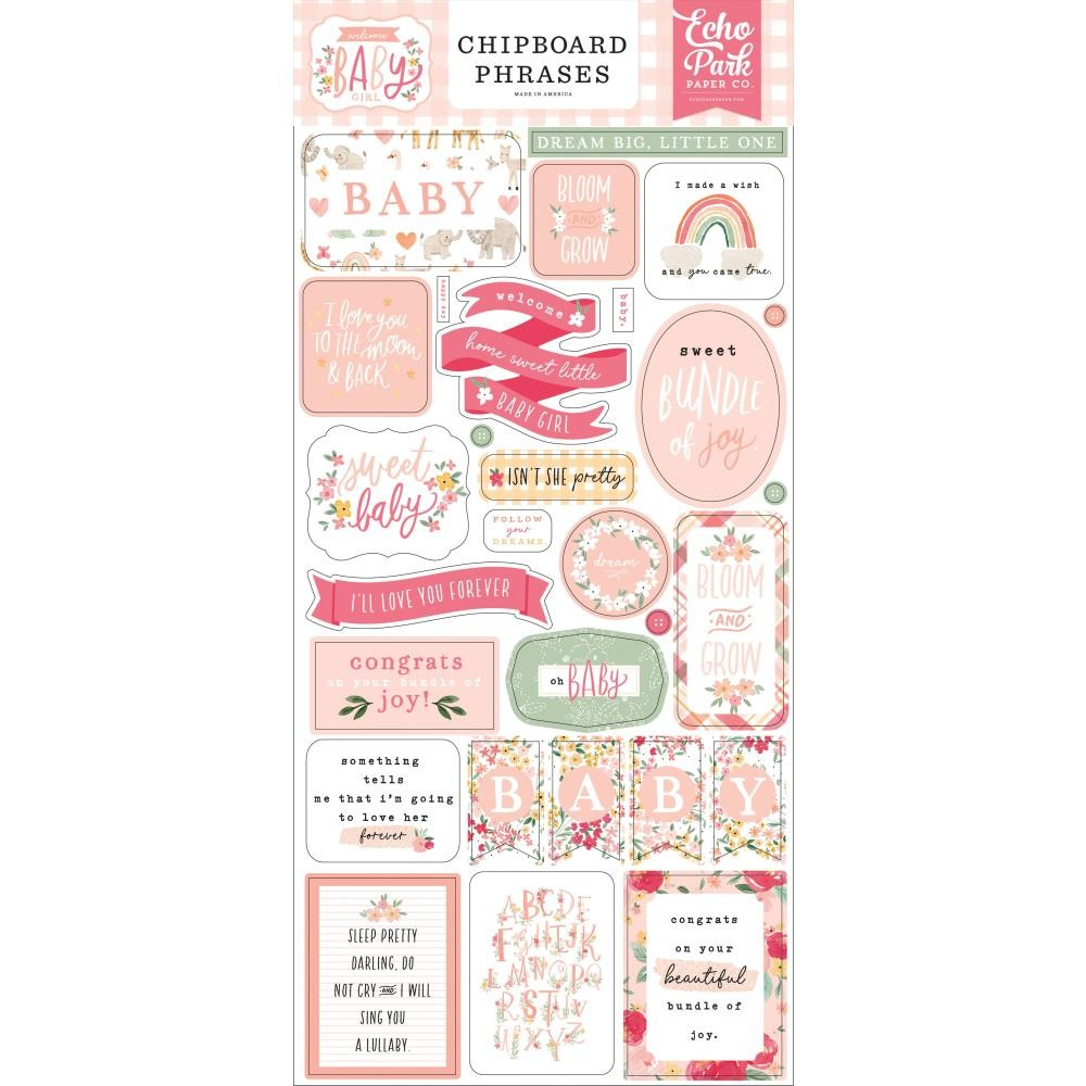 Chipboard 6x13 Welcome Baby Girl Phrases