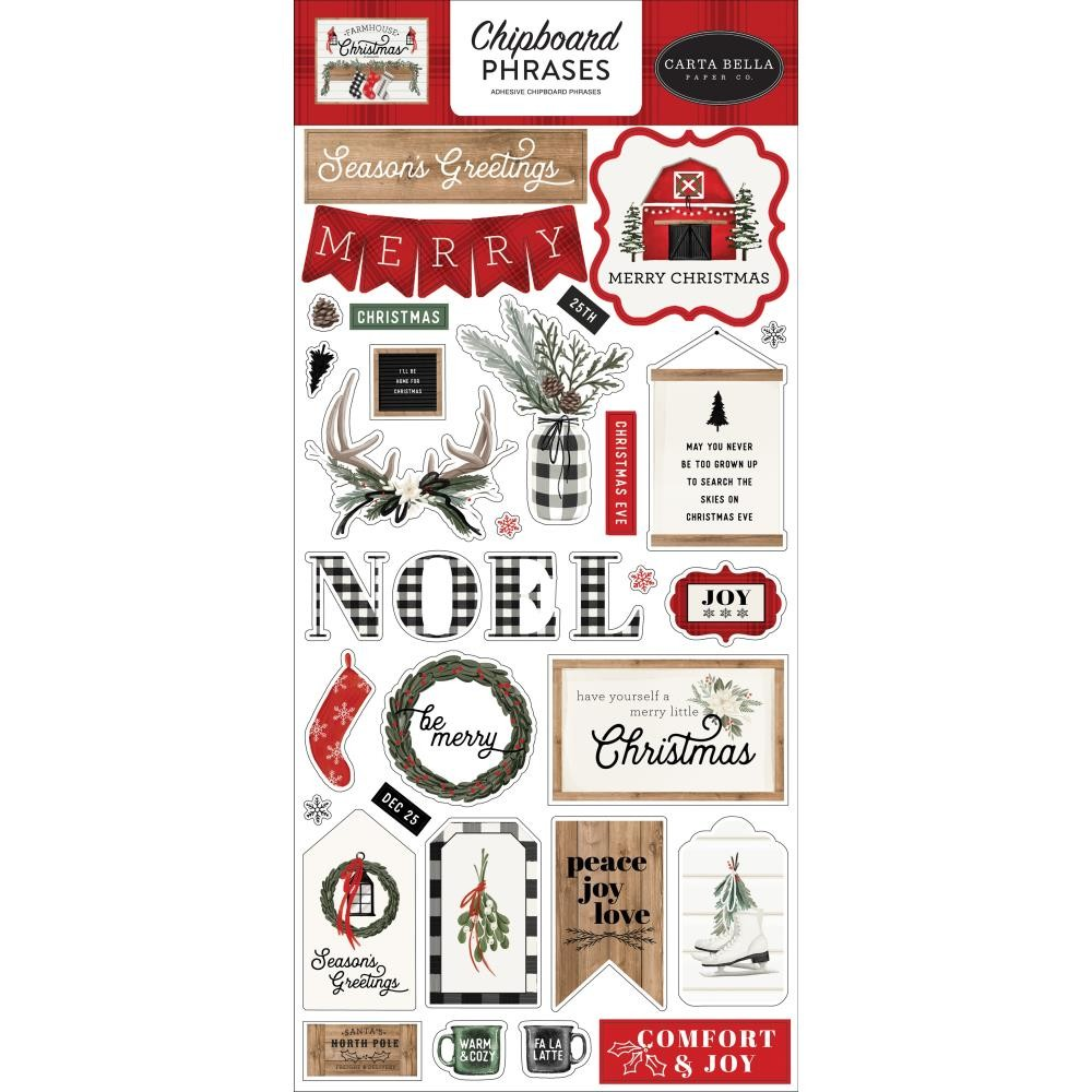 Chipboard 6x13 Farmhouse Christmas Phrases