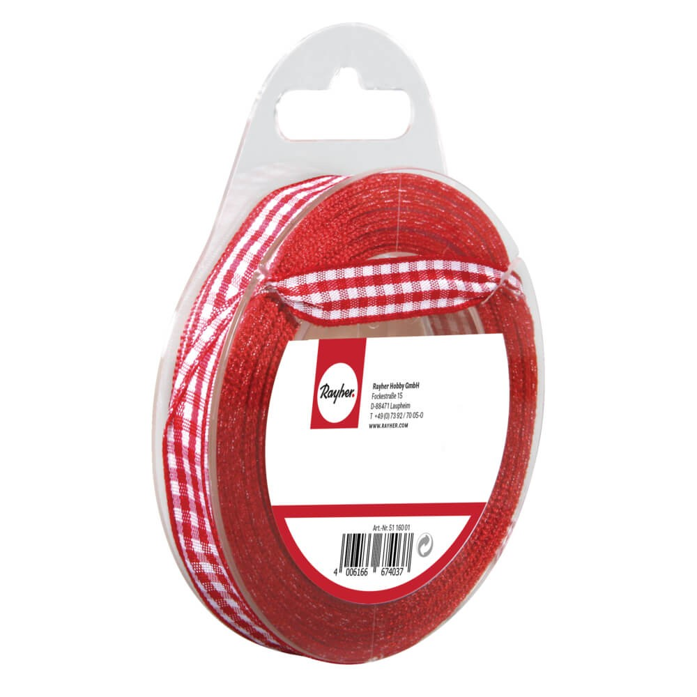 Rubans 9,5 mm 10 m Vichy Red