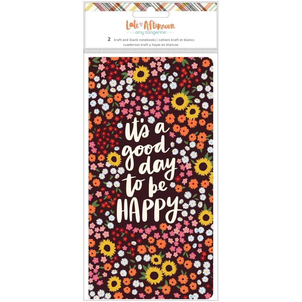 Lot de Cahiers pour Traveler's Notebook Late Afternoon Amy Tangerine (1) Kraft & (1) Blank 24 Sheets Each