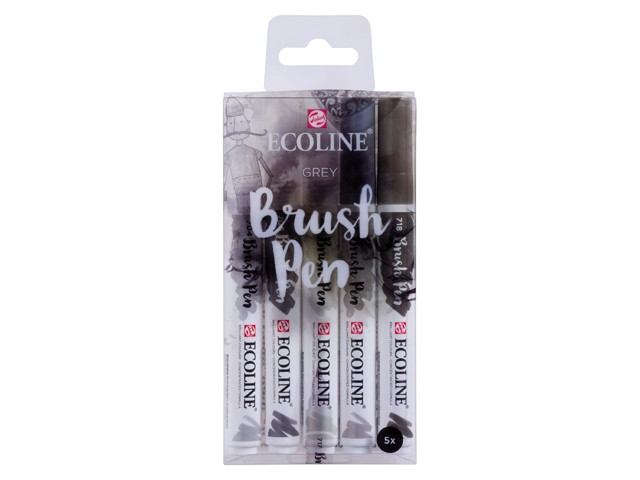 Lot 5 Feutres Ecoline Brush Pen Gris
