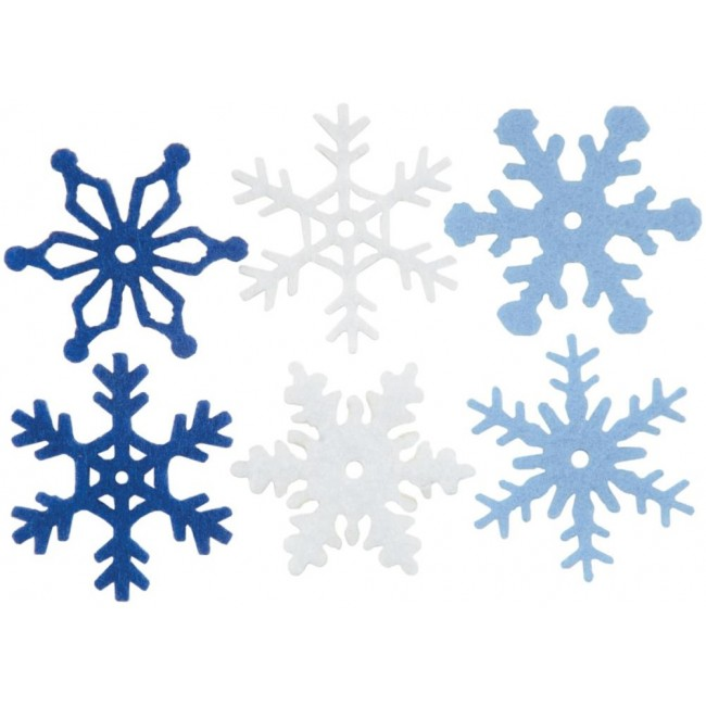 "Medium Felt Snowflakes 1.25"" Winter"