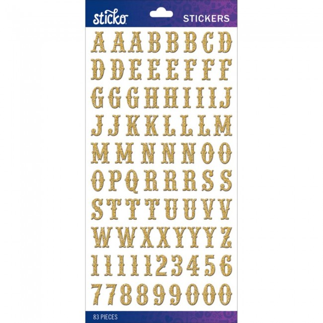 Autocollants Alphabets Gold Glitter Carnival Small Stickers