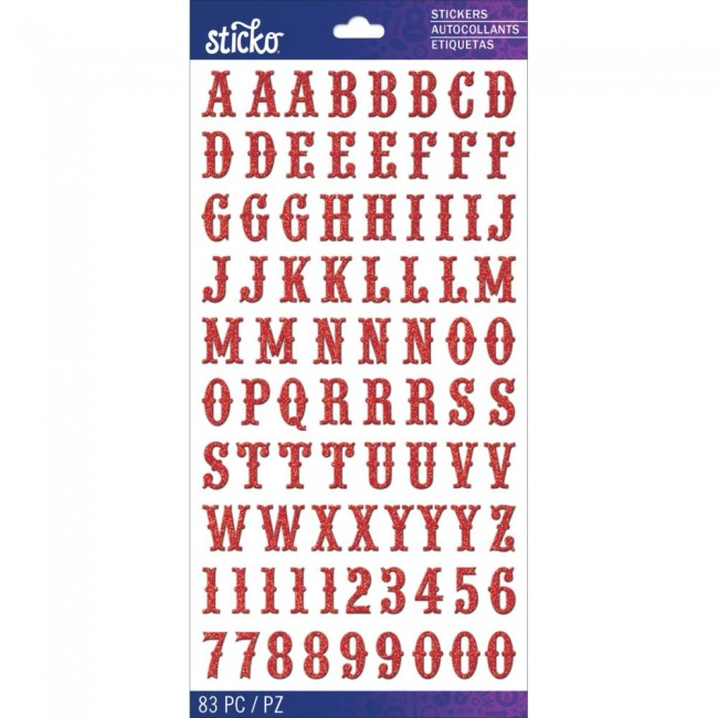 Autocollants Alphabets Red Glitter Carnival Small Stickers
