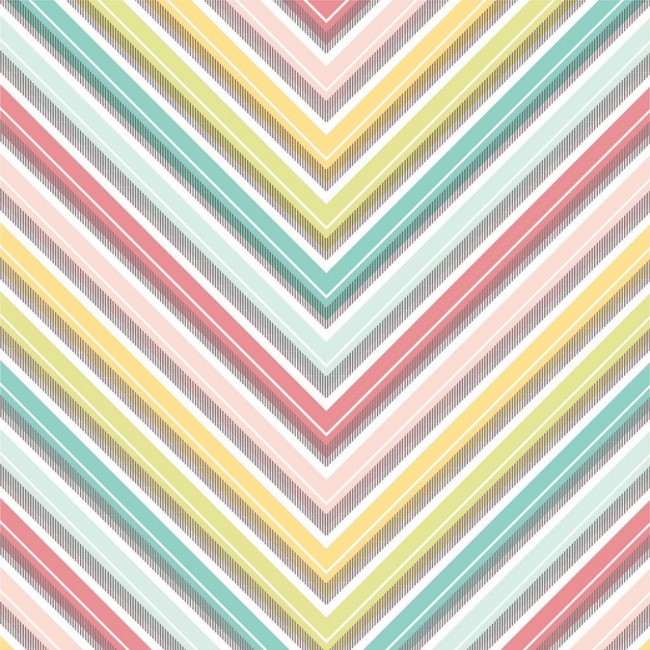 Papier Imprimé Recto 12x12 - Basics - Large Chevron/Couleur Foil