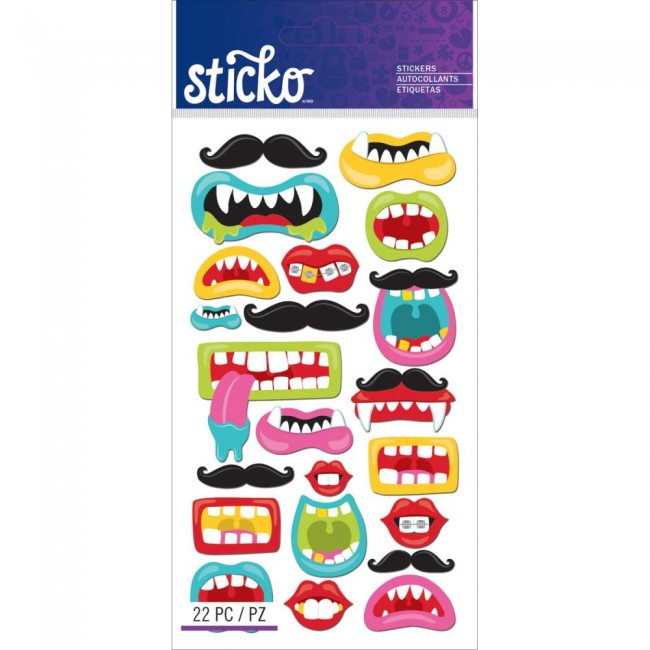 Funny Mouths & Mustaches Stickers