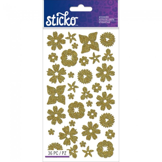 Gold Glitter Flowers Stickers