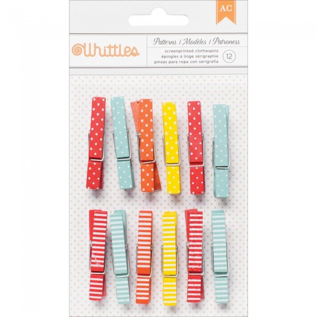 Whittles Clothespins Dots & Stripes