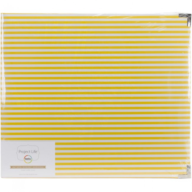 Album 12x12 Kraft Edition Yellow Lines de Project Life