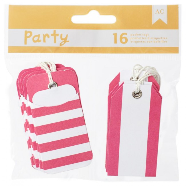 Pink & White Pocket Tags