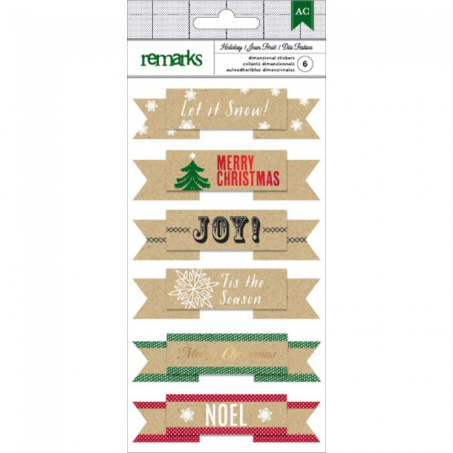 Let It Snow Dimensional Stickers Holiday